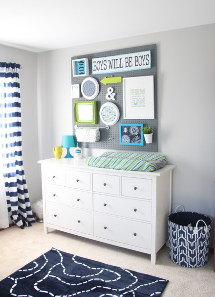 Baby Boy Nursery DIY Pegboard Gallery Wall + Navy, green & gray
