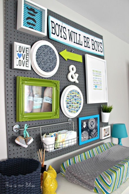 Little boy nursery pegboard gallery wall - DIY nursery decor - navy green & gray - This is our Bliss 3