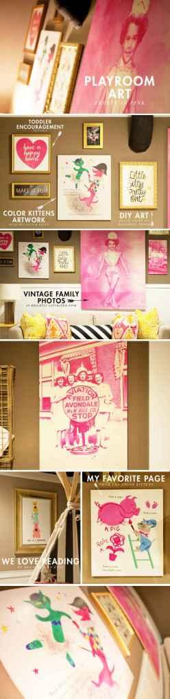 playroom-art-ideas pink & gold