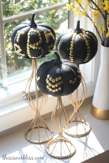 DIY Black & Gold pumpkins w Dollar Store thumb tacks formal living room gold fall decor