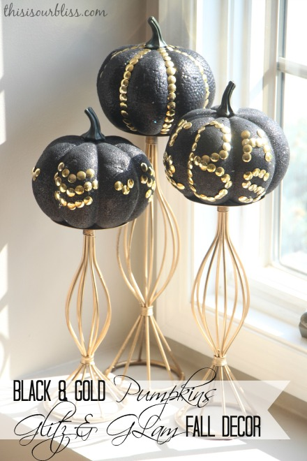 DIY Black & Gold pumpkins w Dollar Store thumb tacks glitz & glam fall decor