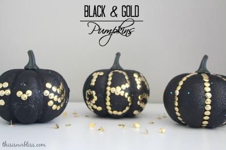 DIY Black & Gold pumpkins w Dollar Store thumb tacks