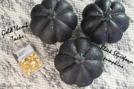 DIY Black & Gold pumpkins w Dollar Store thumbtacks