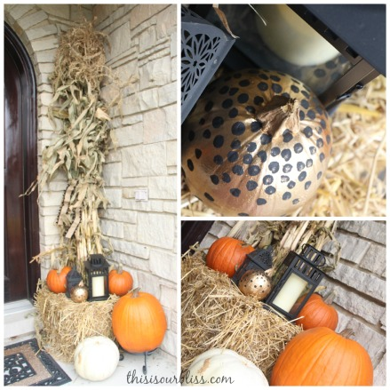 Fall front porch - a touch of gold - painted pumpkins & lanterns & hay & cornstalks - DIY 6