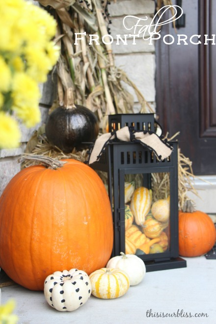 Fall front porch - a touch of gold - painted pumpkins & lanterns & hay & cornstalks - DIY
