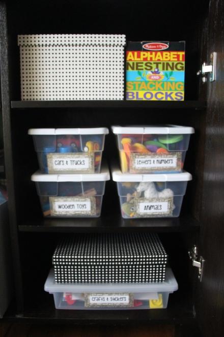 playroom organization - washi tape toy bin labels