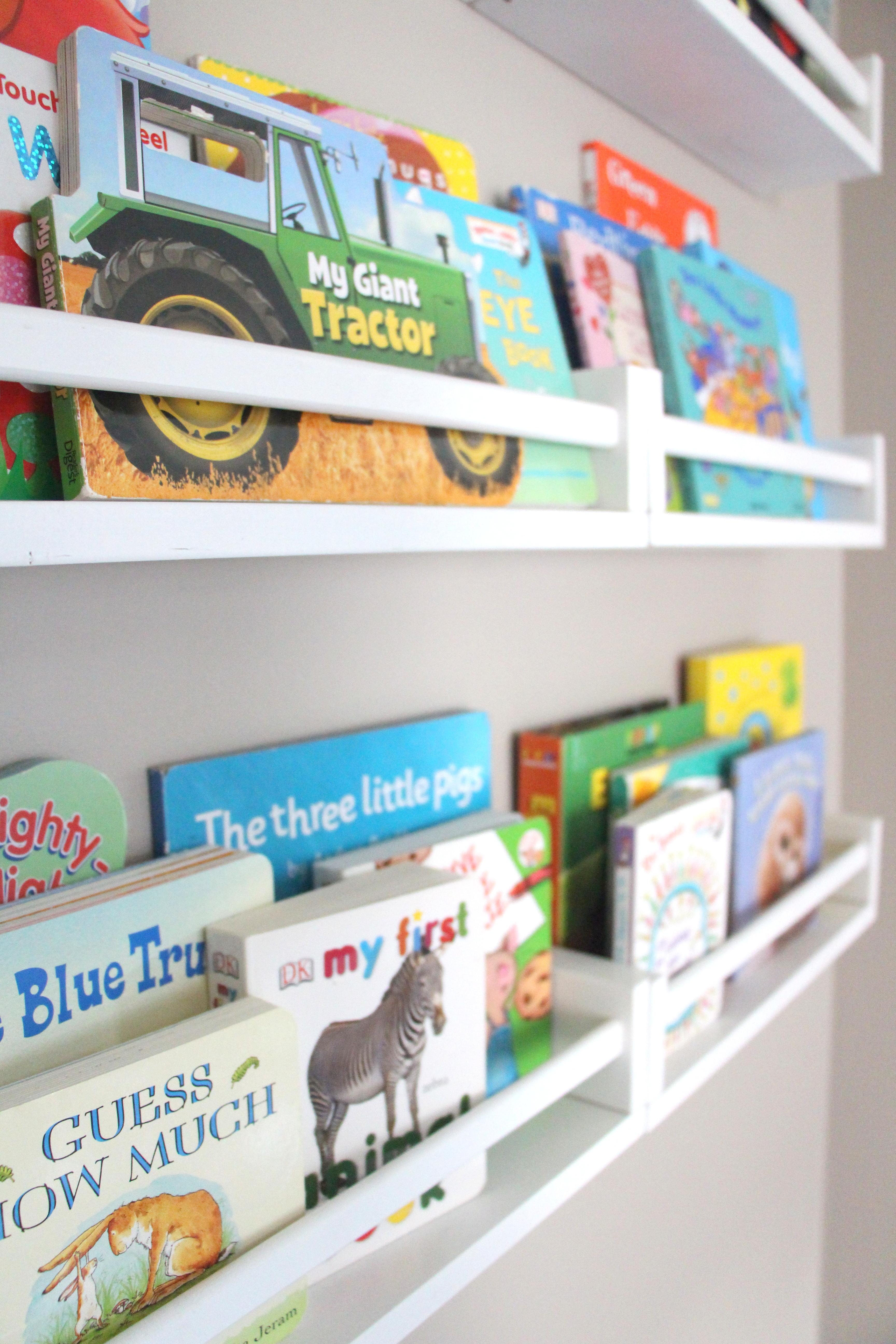 playroom reading nook part 2 ikea spice rack bookshelves. Black Bedroom Furniture Sets. Home Design Ideas
