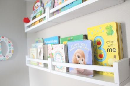 DIY Reading Nook w/ bookshelves - Playroom Reading Nook: Part 2 {IKEA Spice Rack Bookshelves} - This