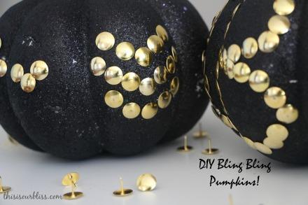 DIY Black & Gold pumpkins w Dollar Store thumbtacks bling bling