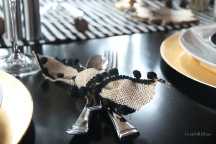 How to create a Modern & Elegant Thanksgiving Table-- black white & gold---natural touches -- This is our Bliss 10
