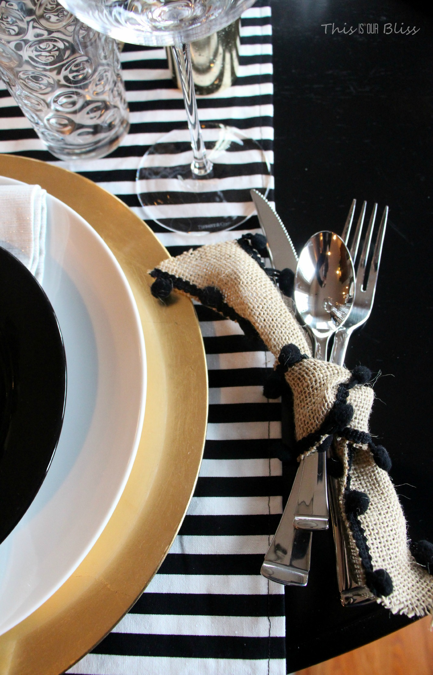 Thanksgiving Tablescape Black White Gold Natural