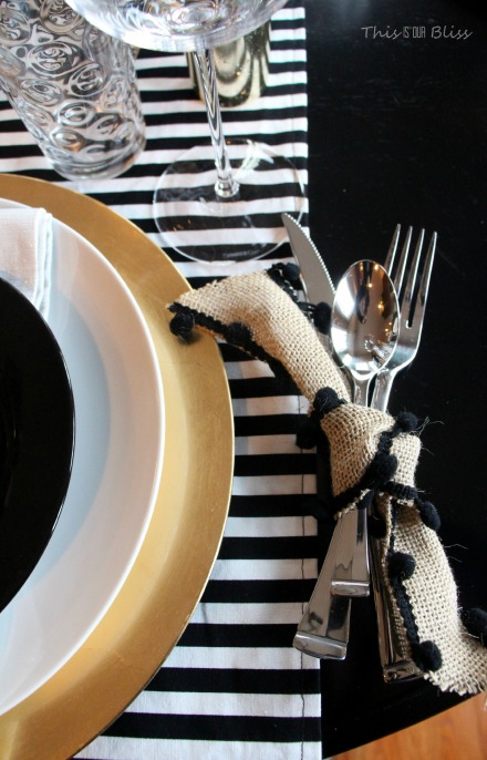 How to create a Modern & Elegant Thanksgiving Table-- black white & gold---natural touches -- This is our Bliss 5