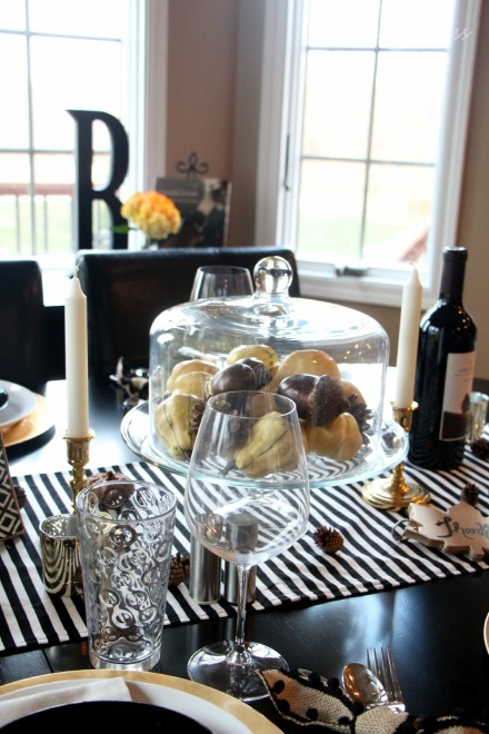 How to create a Modern & Elegant Thanksgiving Table-- black white & gold---natural touches -- This is our Bliss 8