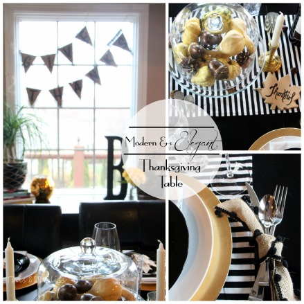 Modern Thanksgiving Tablescape--Black white & gold---modern with natural touches - Modern & Elegant