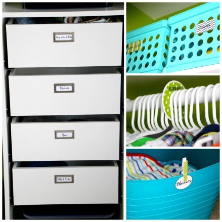 Nursery closet details- nursery organization with labels - DIY nursery closet