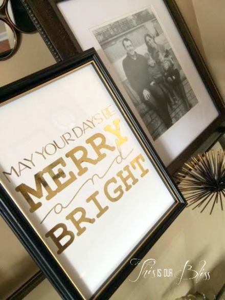 DIY gold foil art - holiday display - hoiday decor