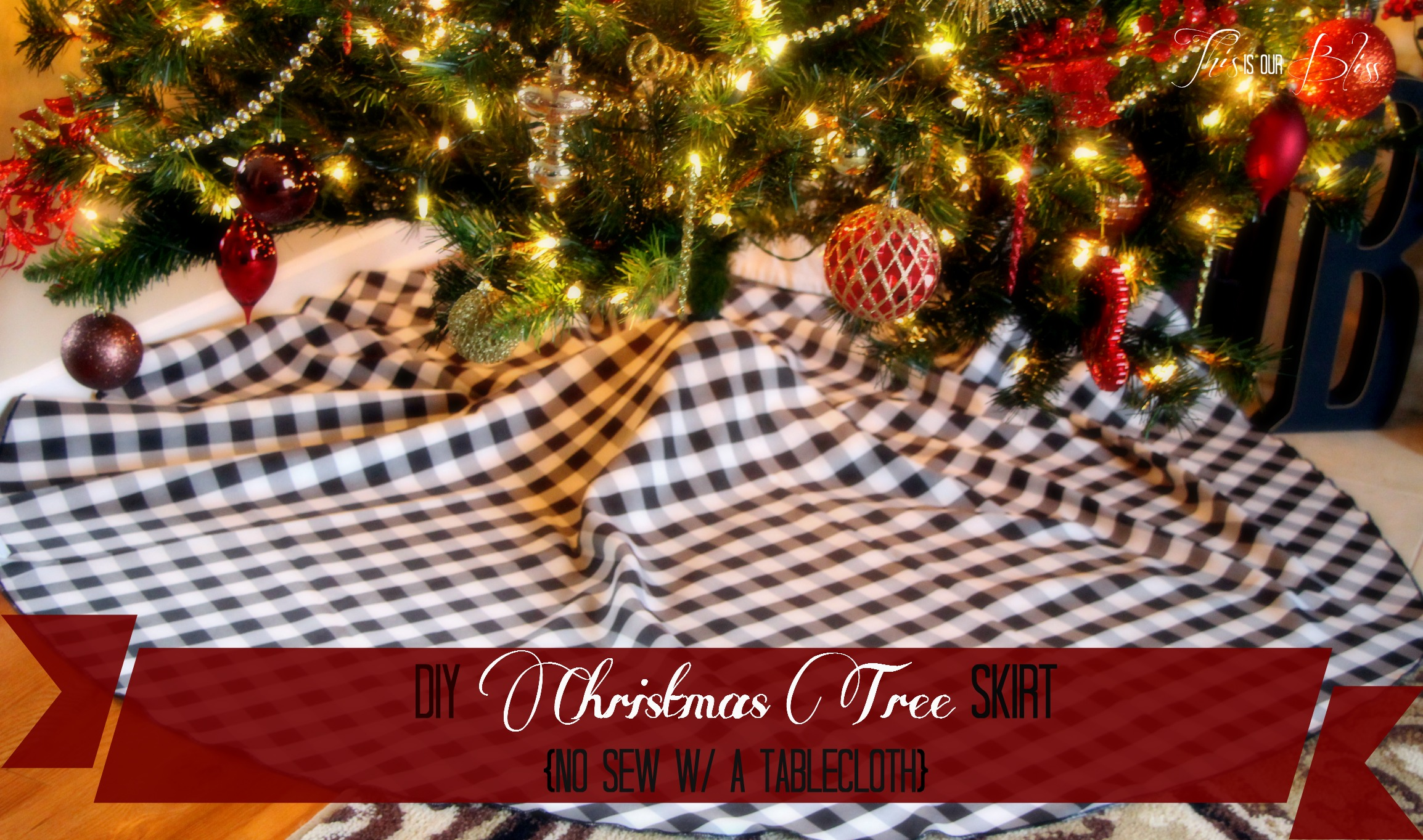 DIY Tree Skirt   Round Tablecloth   No Sew With A Tableloth