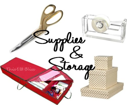Holiday gift wrapping supplies and storage - wrapping essentials