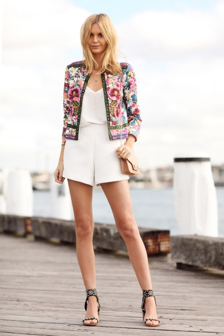 floral jacket - white shorts