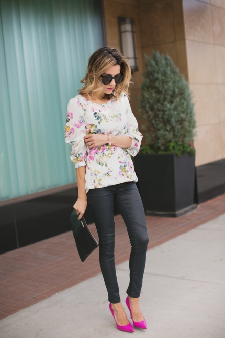 floral + leather + pink heels