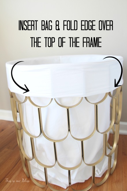 DIY laundry hamper - fold edge over frame - This is our Bliss