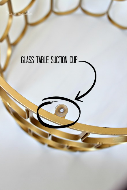glass table suction cup on gold metal table frame - this is our bliss
