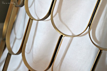 Gold hamper detail - linen closet makeover - This is our Bliss