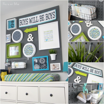 Nursery pegboard gallery wall | diy nursery decor | baby boy nursery | lime green + navy + gray | This is our Bliss