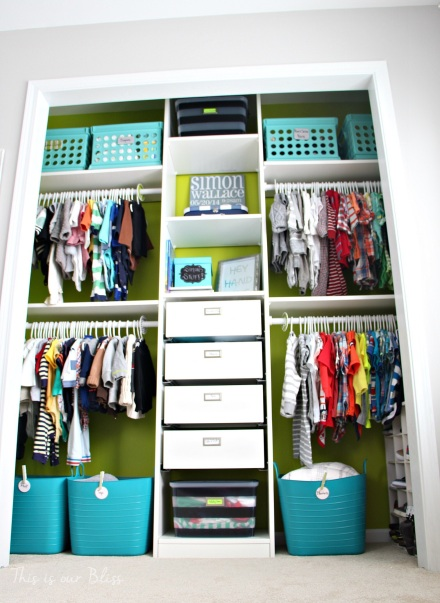 Baby boy nursery closet | diy nursery organization | navy green gray nursery | diy nursery decor| This is our Bliss