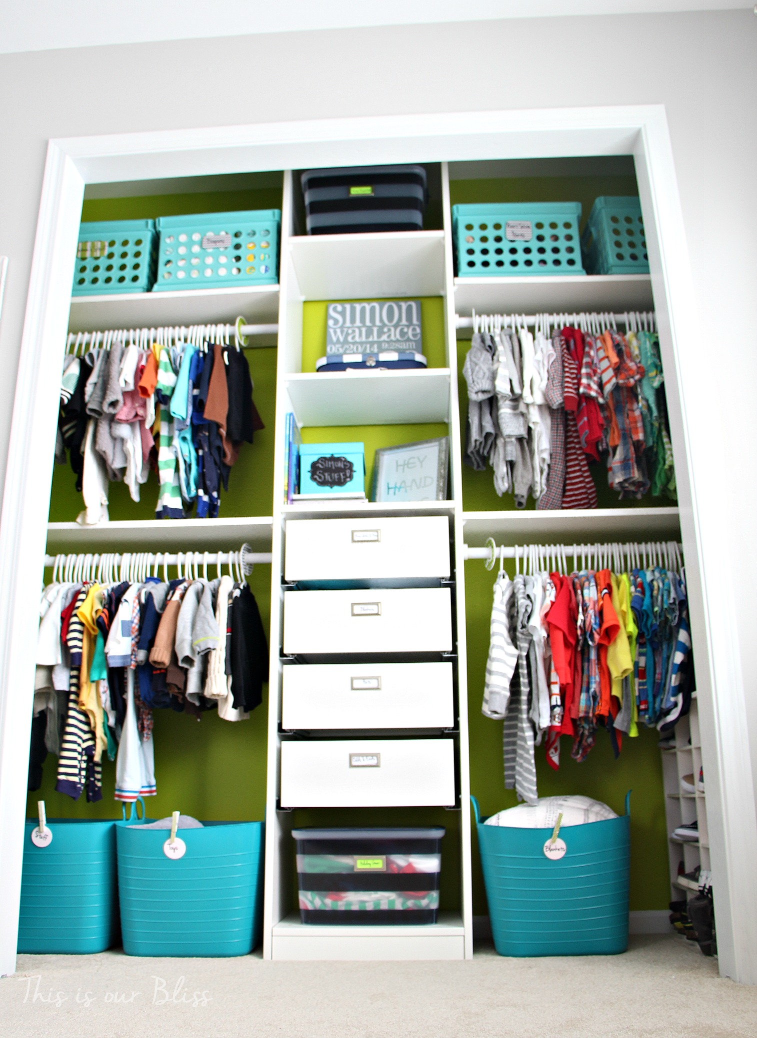 Nursery closet details part 2 accessories labels for Baby organizer ideas