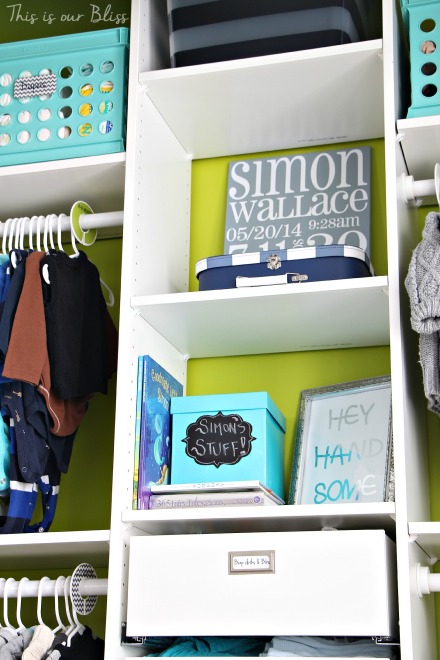 Baby boy nursery closet - DIY nursery decor - navy green gray - This is our Bliss 8