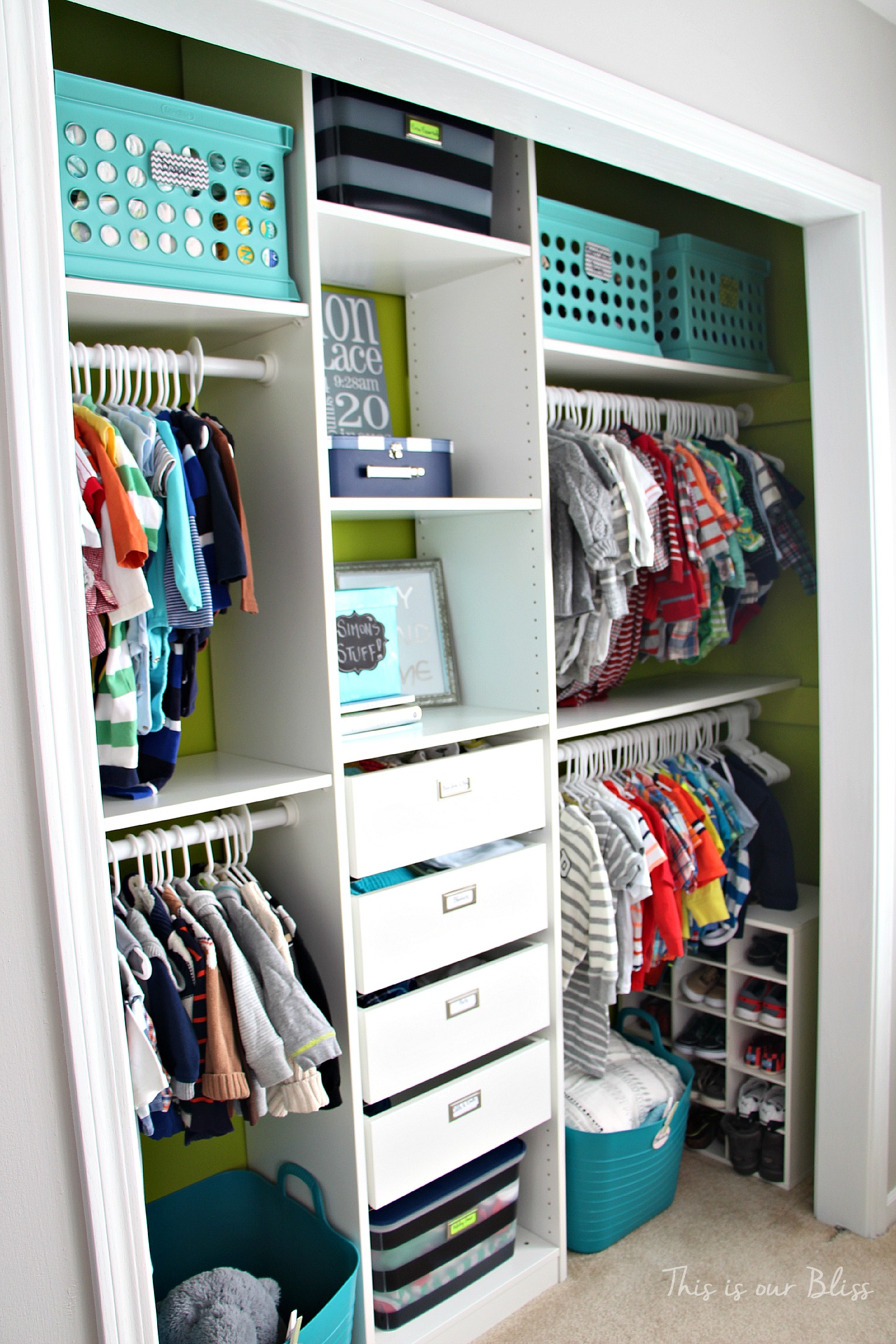 Nursery closet makeover details how to diy a closet for Kids room closet ideas