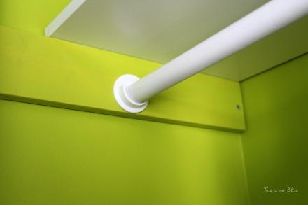 DIY nursery closet - dowel rods + rod holders + plywood support blocks - Little boy nursery closet - This is our Bliss