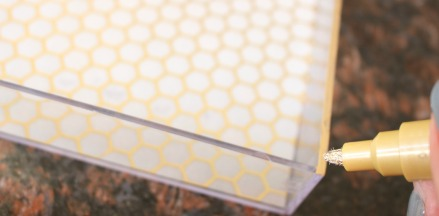 gold leaf trim - DIY gold detail acrylic tray - This is our Bliss