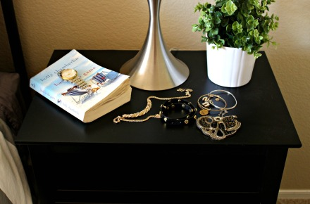 guest bedroom nightstand before - DIY gold detail acrylic tray - This is our Bliss