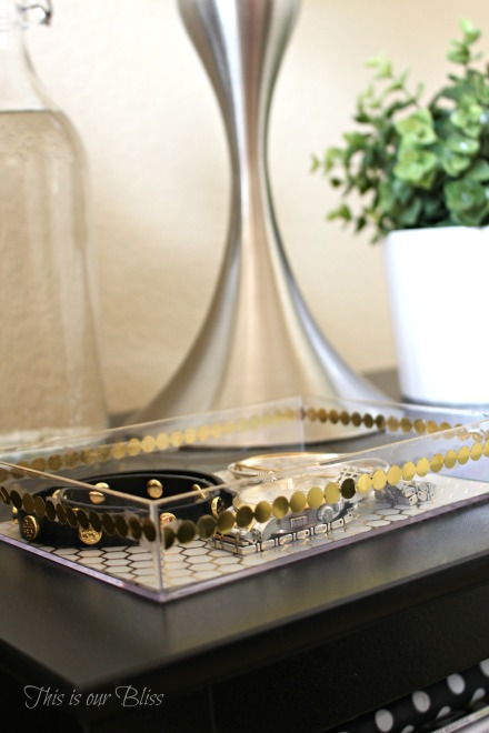 guestroom bedside table - DIY gold detail acrylic tray - jewelry catchall - This is our Bliss