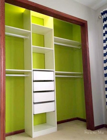 IKEA PAX closet system - Can't Miss LIme - valspar paint - DIY nursery closet - navy green gray - This is our Bliss