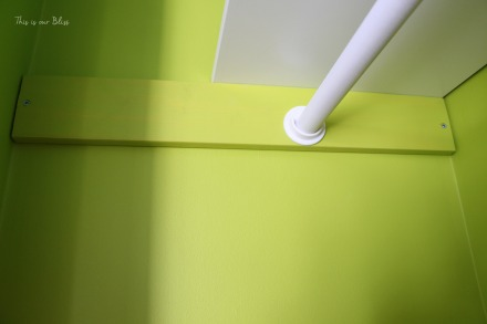 Lime green closet - DIY nursery closet - dowel rods + rod holders + plywood support blocks - Little boy nursery closet - This is our Bliss