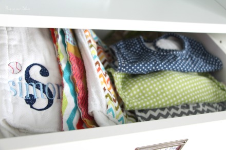 nursery closet details - accessories + labels - closet drawers - burp cloths & bibs - IKEA komplement - This is our Bliss