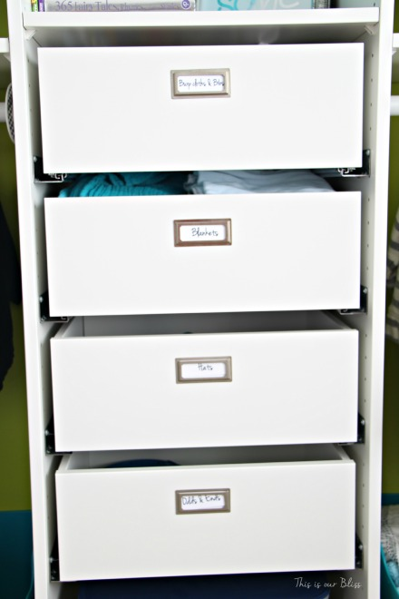 nursery closet details - accessories + labels - closet drawers - IKEA komplement - This is our Bliss