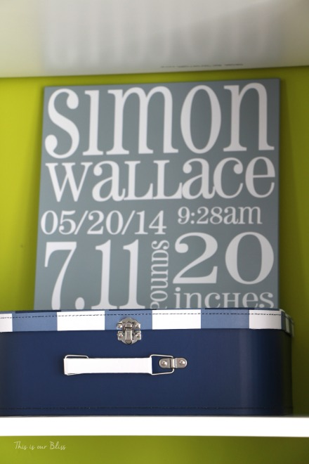 Nursery closet details - DIY nursery closet - accessories and labels - This is our Bliss - navy green and gray