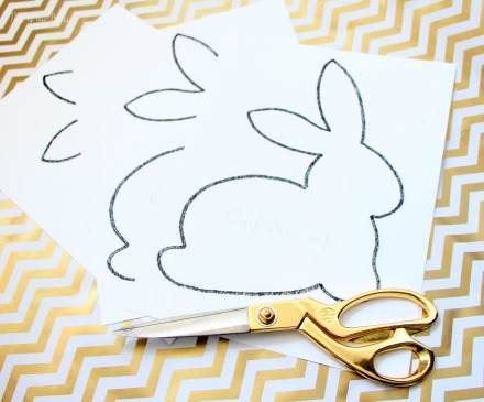 Bunny printable - cut out to use as a stencil - DIY Chic Easter art - black white and gold - This is our Bliss