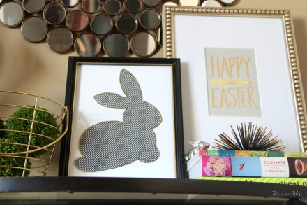 Bunny printable - trace onto paper - cut out to use as a stencil - Chic Easter art - black white and gold - This is our Bliss 10