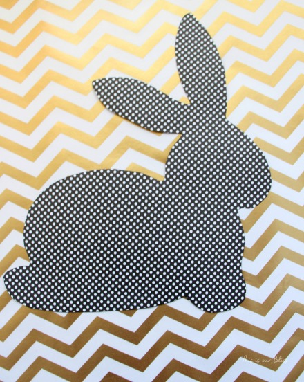 Bunny printable - trace onto paper - cut out to use as a stencil - Chic Easter art - black white and gold - This is our Bliss 2