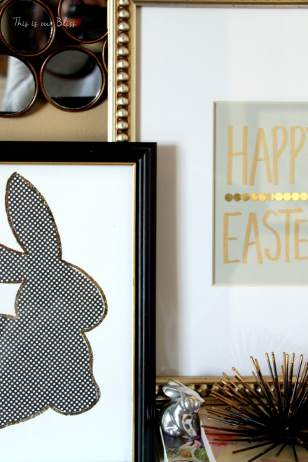 Bunny printable - trace onto paper - cut out to use as a stencil - Chic Easter art - black white and gold - This is our Bliss 8