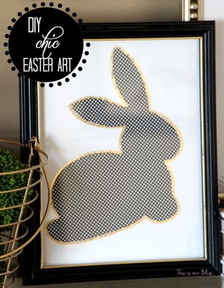 Bunny printable - trace onto paper - cut out to use as a stencil - DIY Chic Easter art - black white and gold - This is our Bliss