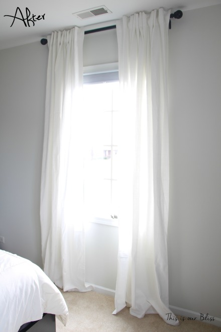 Curtain & curtain rods after - One Room Challenge - Guestroom Revamp - This is our Bliss