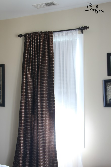 Curtains before - Guestroom Revamp - One Room Challenge - This is our Bliss