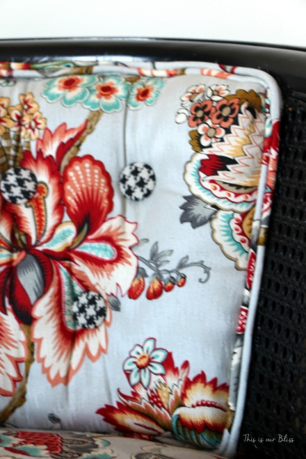 floral and houndstooth cane chair makeover - HGTV fabric - This is our Bliss 1