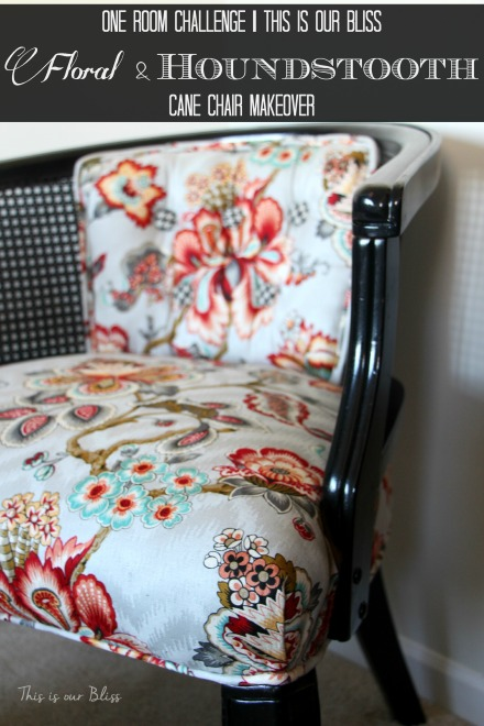 floral and houndstooth cane chair makeover - HGTV fabric - This is our Bliss 4